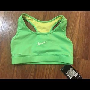 Green Nike Pro Dri Fit Reversible Sports Bra